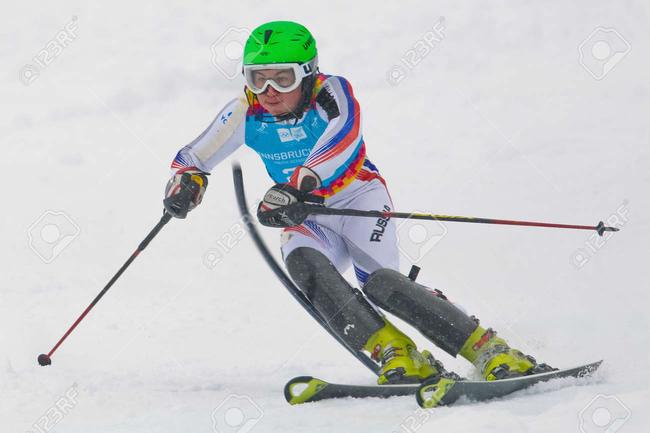 PATSCHERKOFEL, AUSTRIA - JANUARY 21 Artem Pak (Russia) places 20th in the men's slalom on January 21, 2012 in Patscherkofel, Austria. Stock Photo - 12159736
