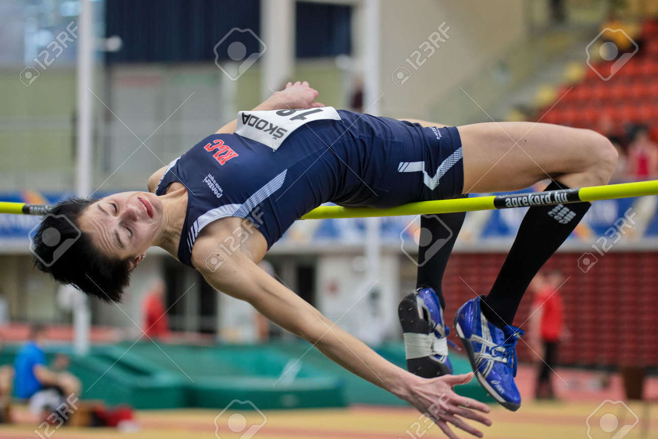 LINZ, AUSTRIA - FEBRUARY 25: Monika Gollner (#189) wins the women's high jump event in Linz, Austria on February 25, 2012. Stock Photo - 13160842
