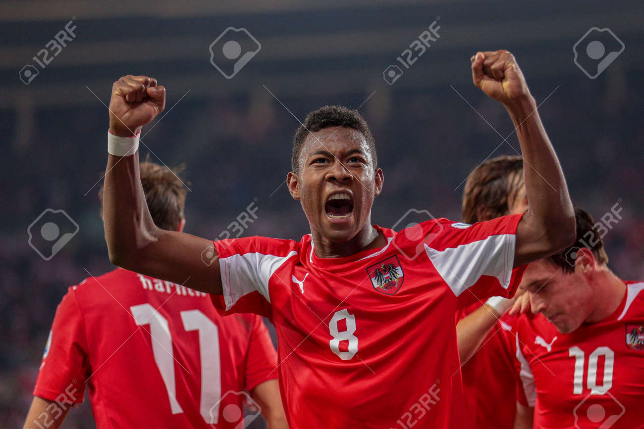 Stock Photo - VIENNA, AUSTRIA - OCTOBER 16 David Alaba (#8 Austria)  celebrates after a goal during the WC qualifier soccer game on October 16,  ...