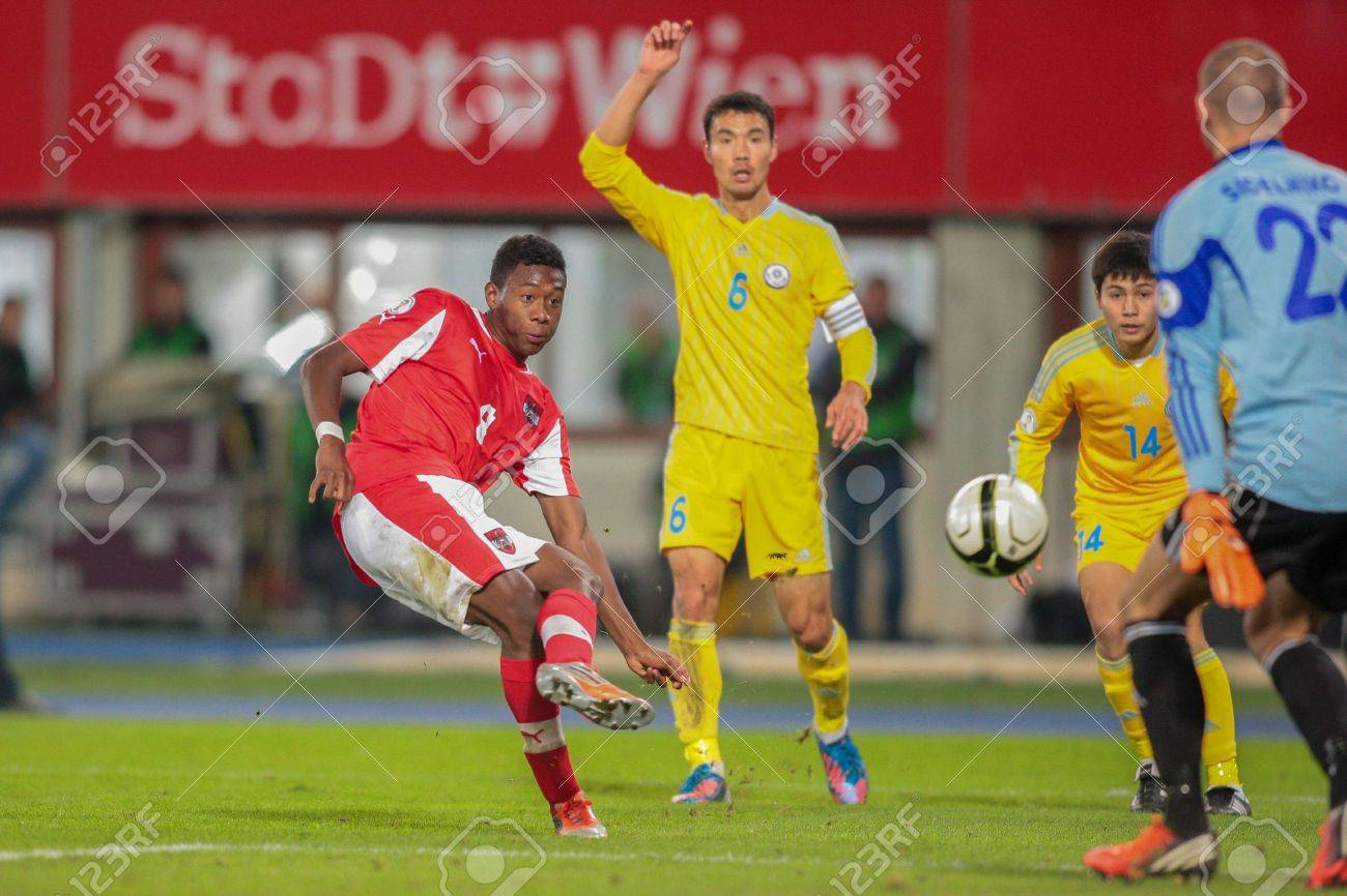Stock Photo - VIENNA, AUSTRIA - OCTOBER 16 David Alaba (#8 Austria) scores  a goal during the WC qualifier soccer game on October 16, 2012 in Vienna,  ...