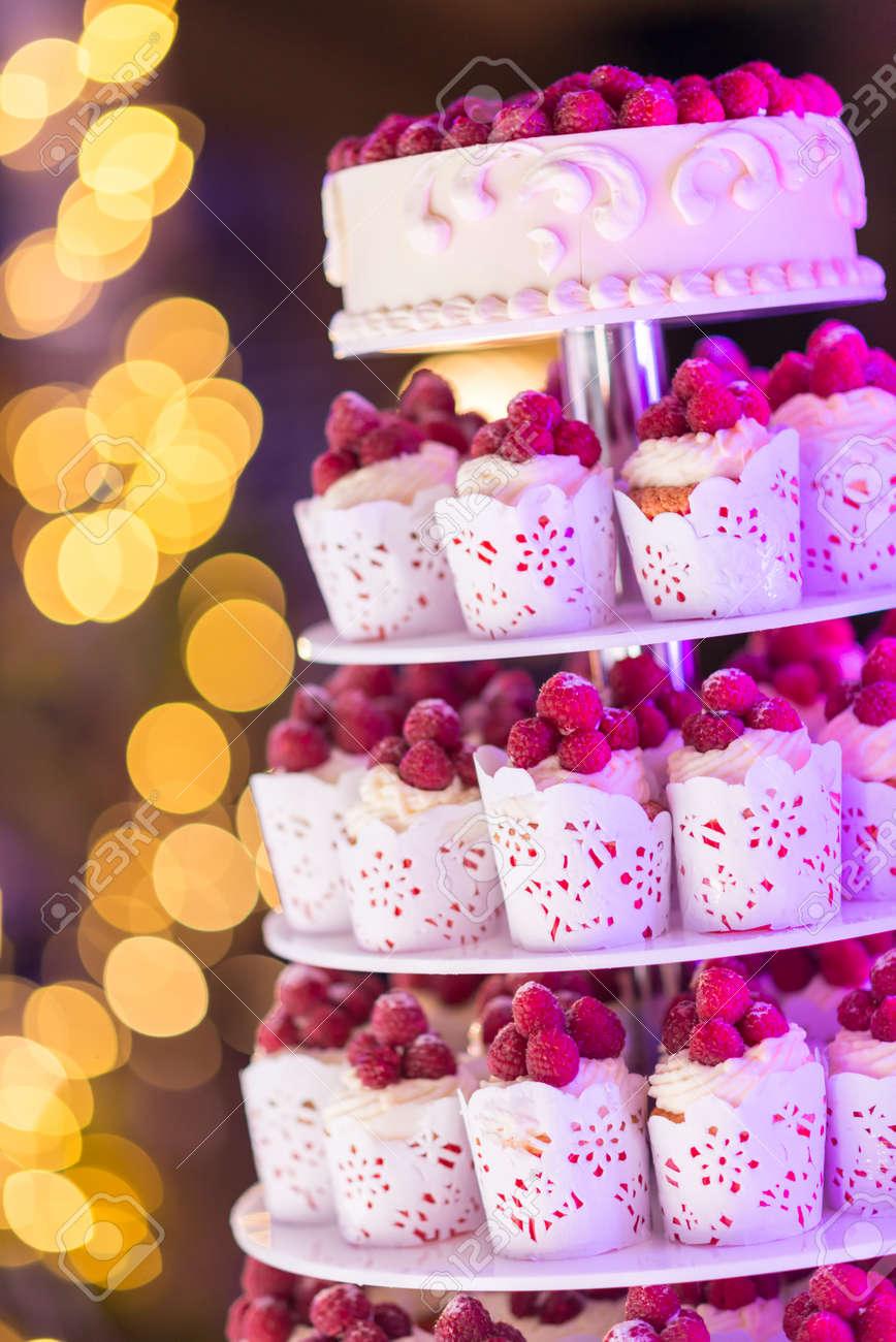 Sweet Wedding Cake Made From Fresh Berry Cupcake With Bokeh ...