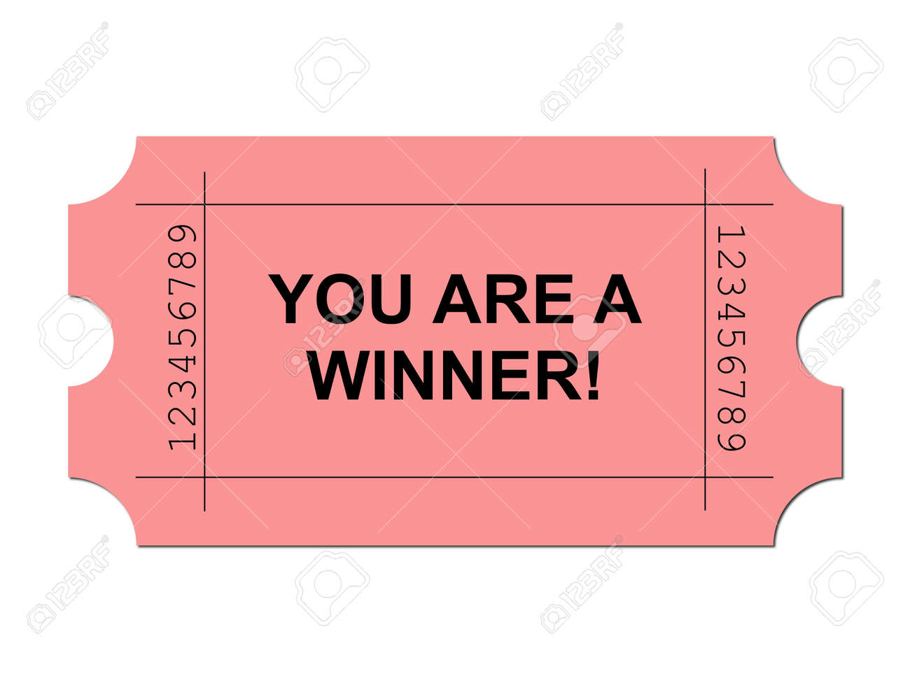 Red ticket on white background with sample writing YOU ARE A WINNER Stock Photo - 4978011