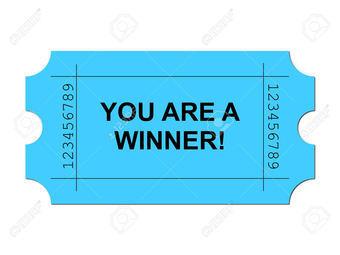 Blue ticket on white background with sample writing YOU ARE A WINNER Stock Photo - 5012915