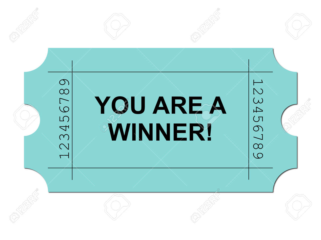 Green ticket on white background with sample writing YOU ARE A WINNER Stock Photo - 5043791