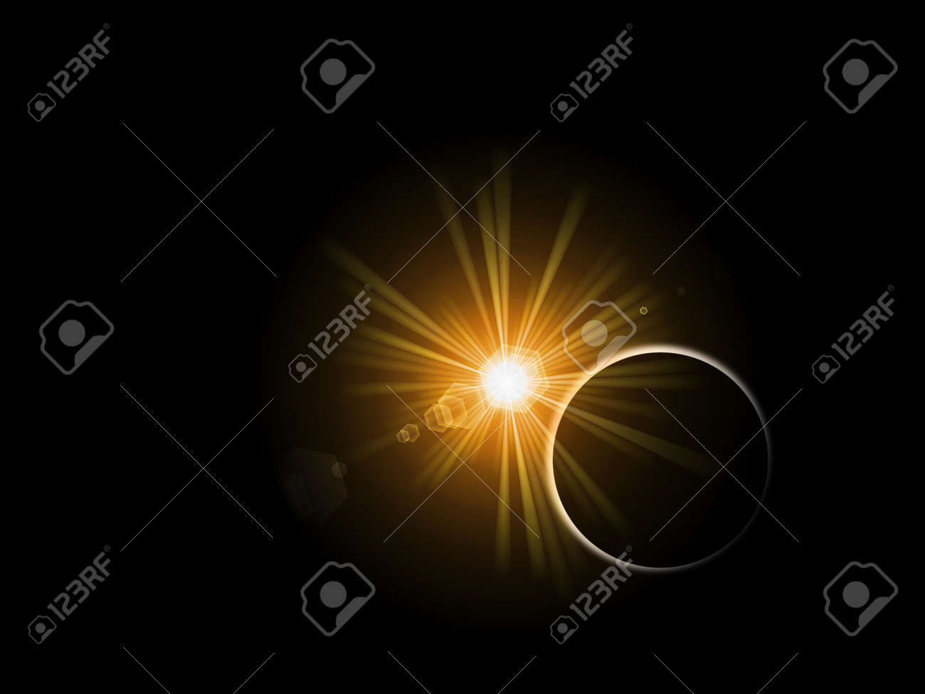Sunrise or sunset behind a planet on black background. Stock Photo - 5241441