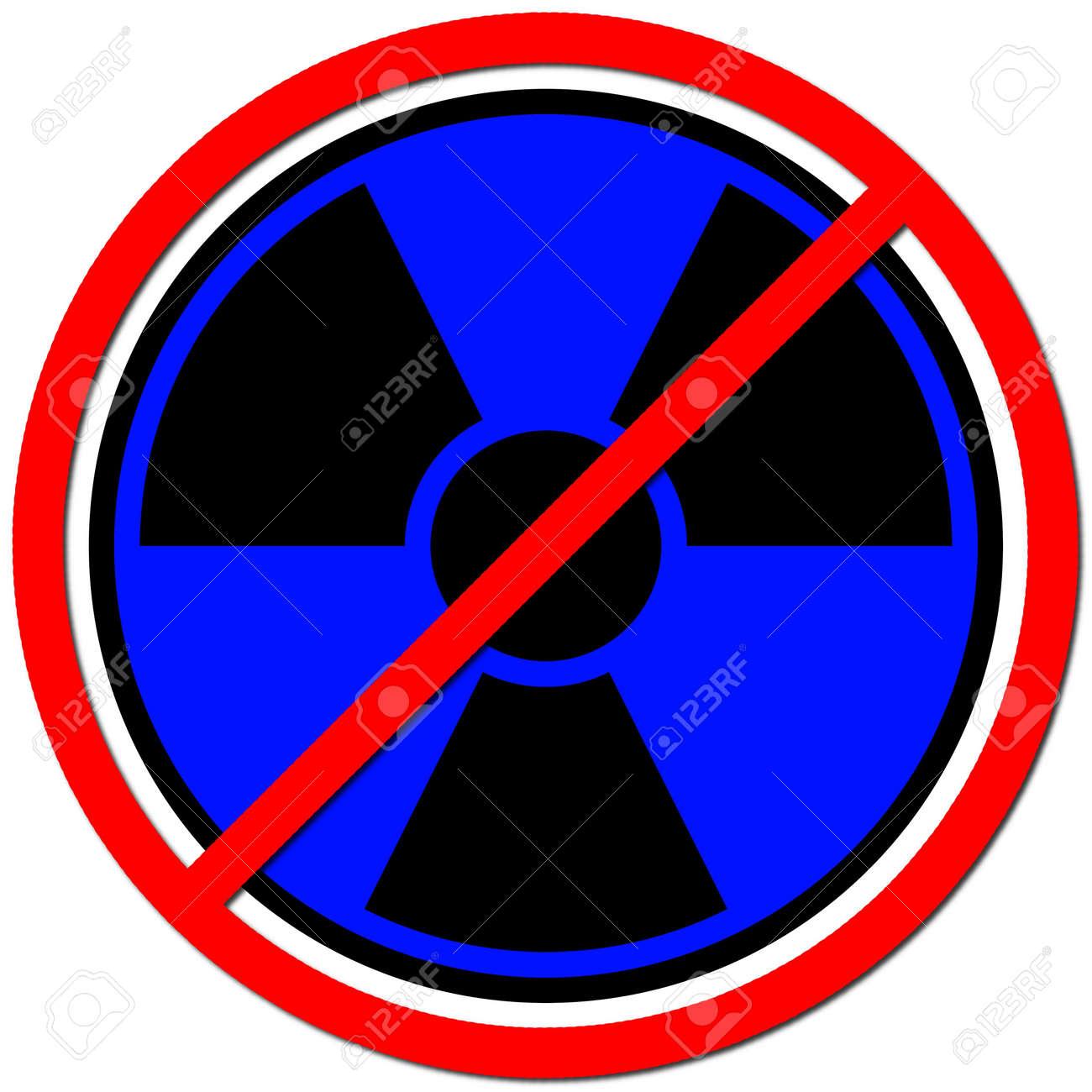 Blue sign against radiation on white background. Stock Photo - 5430162