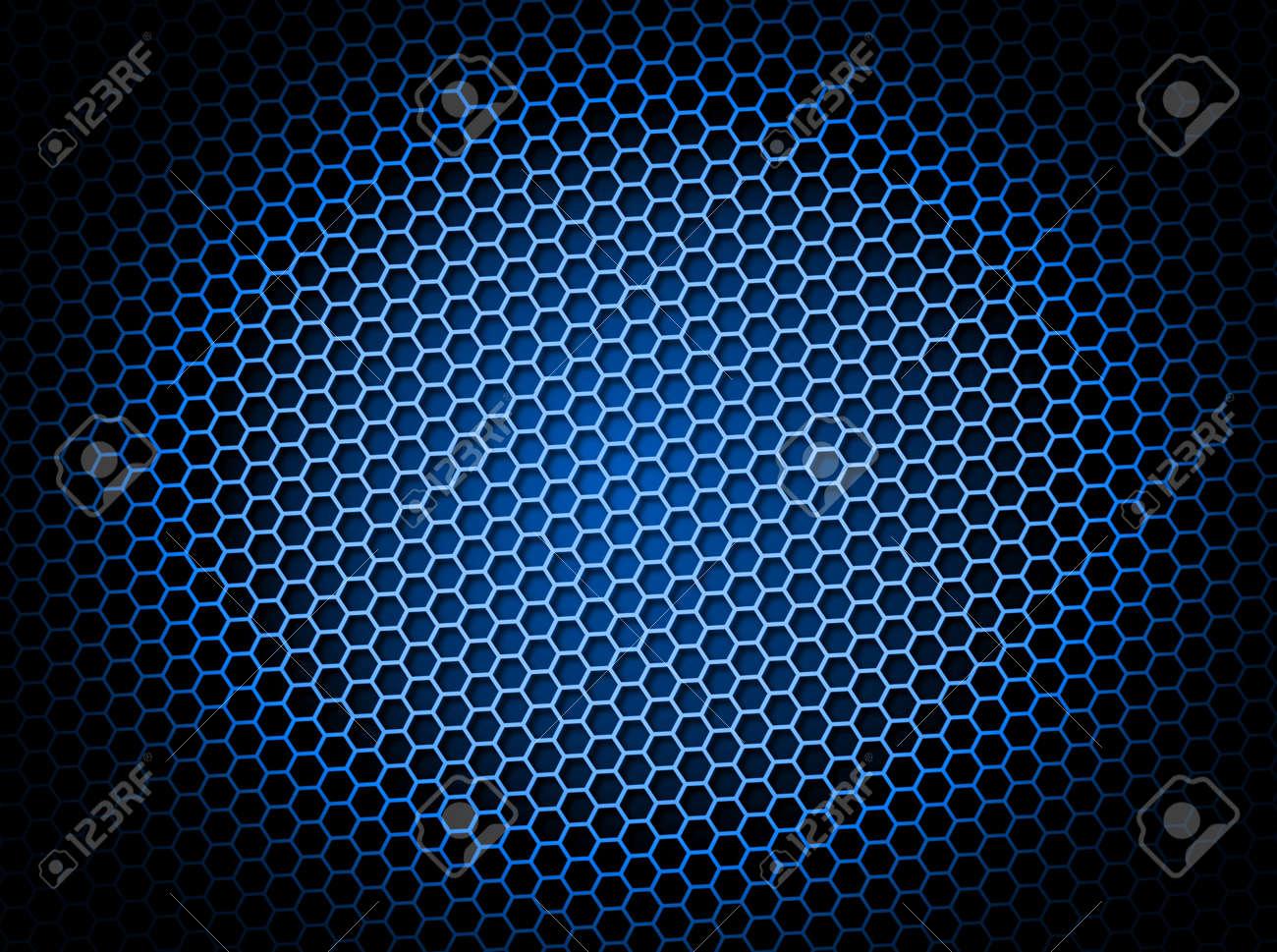 Blue honeycomb background 3d illustration or backdrop with light effect Stock Illustration - 5535295