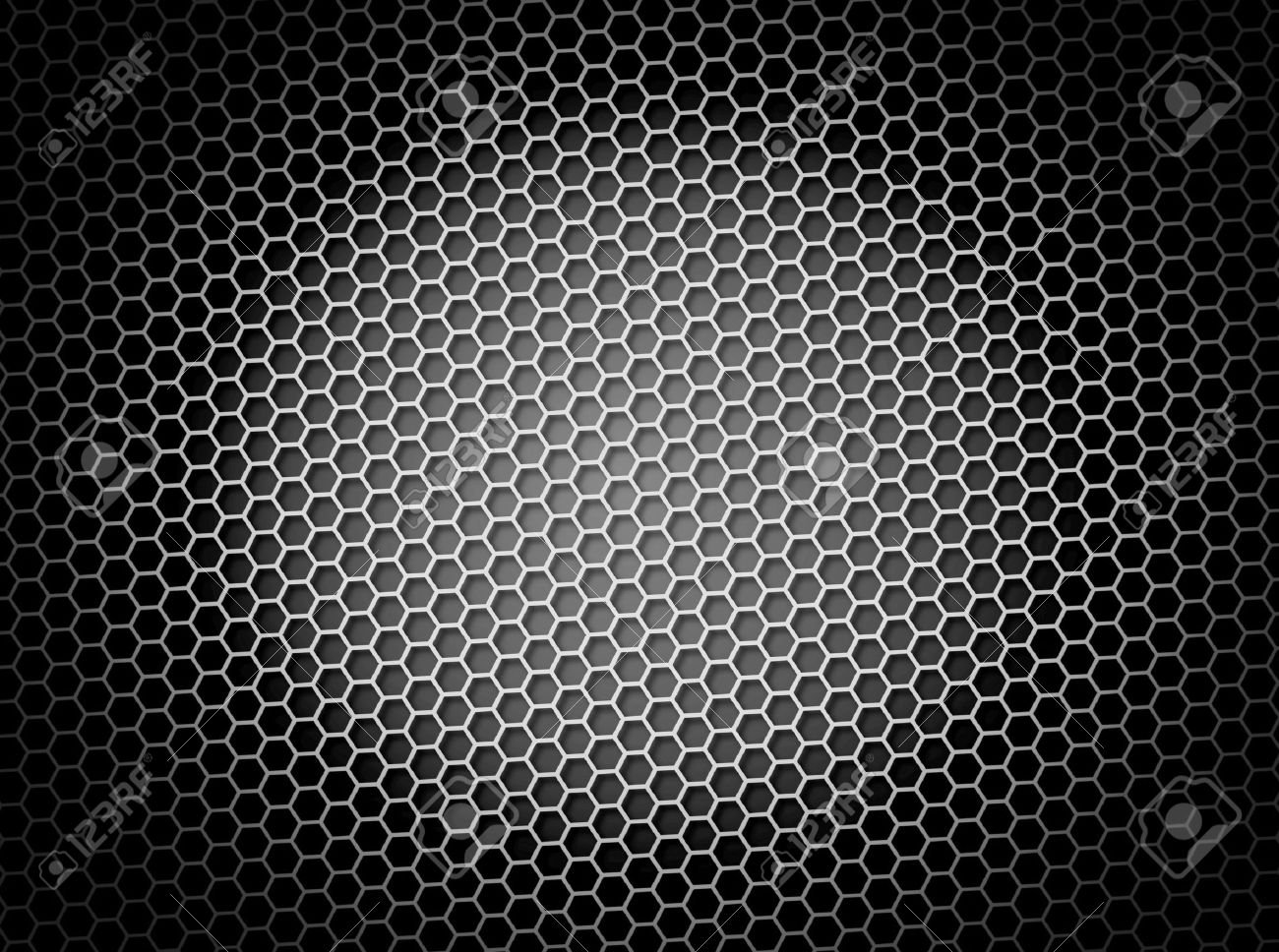 Black and white honeycomb background 3d illustration or backdrop with light effect Stock Illustration - 5535302