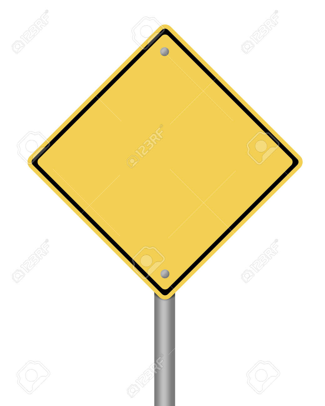 blank yellow warning sign on white background Stock Photo - 5684508