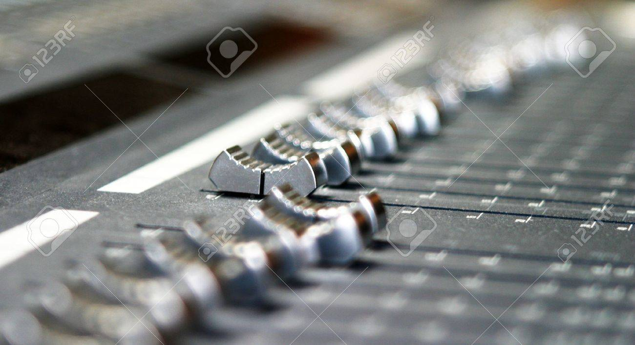close up of and autio mixing xonsole in a music studio Stock Photo - 5919352