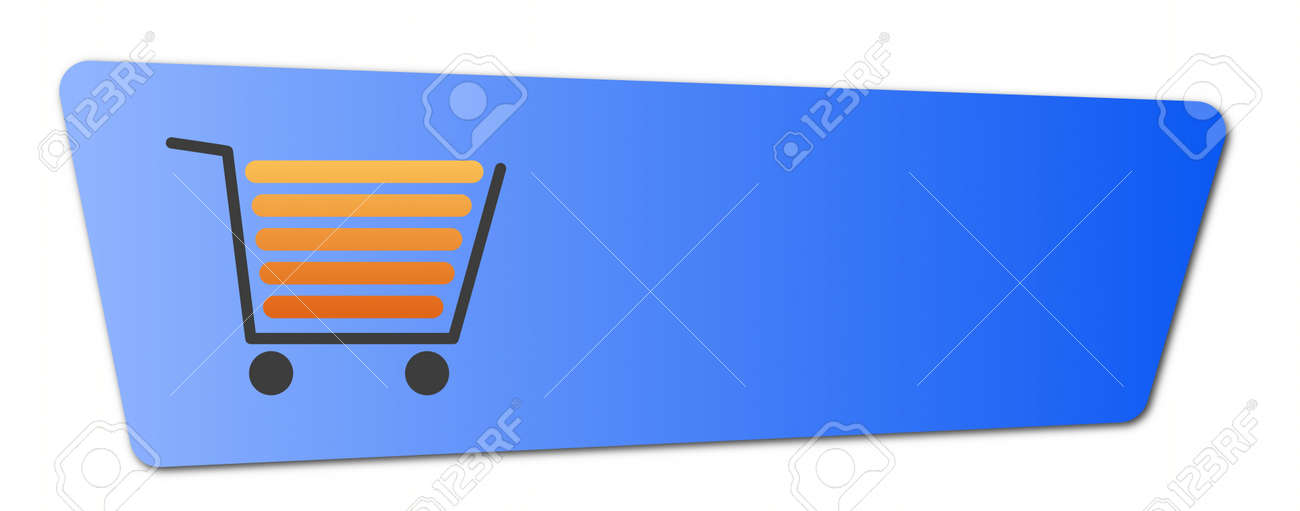 Blue shopping cart  button with a shopping cart on white background. Stock Photo - 5996271