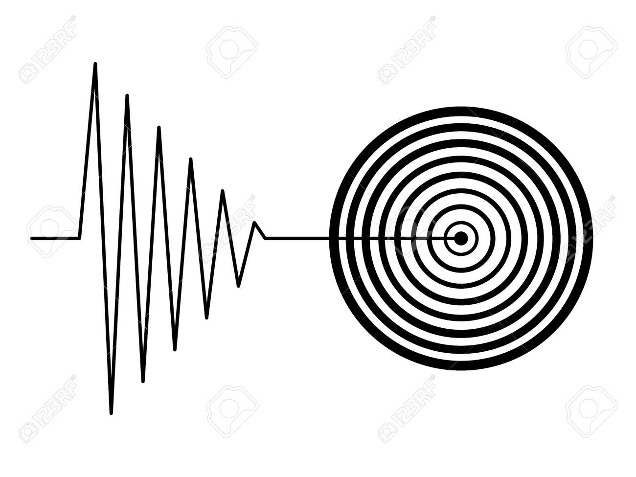black tremor earthquake sign on white background Stock Photo - 6381598