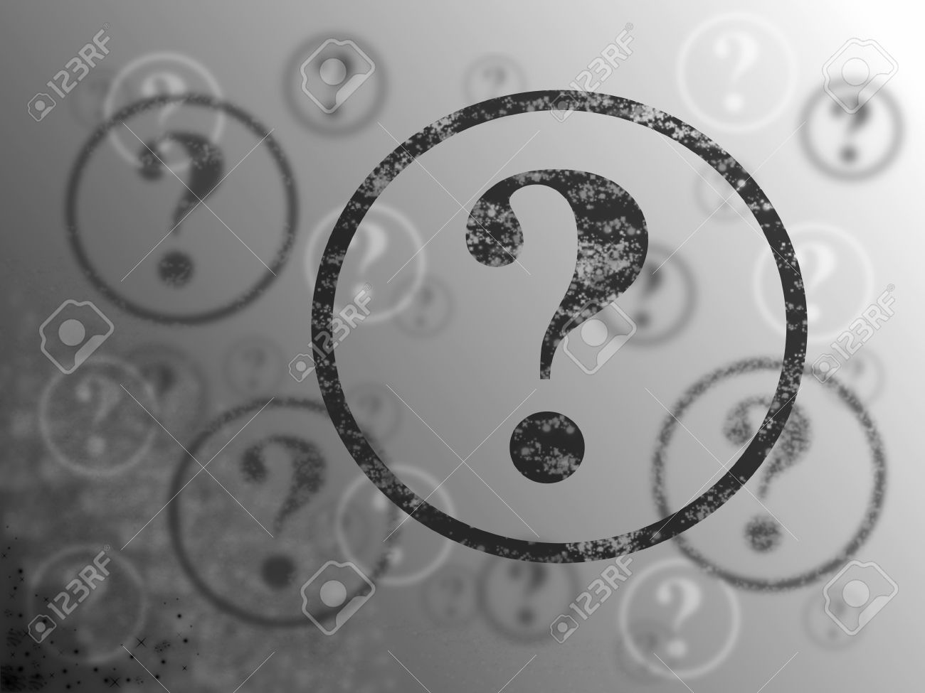 Blue and white background with many question marks Stock Photo - 7696429