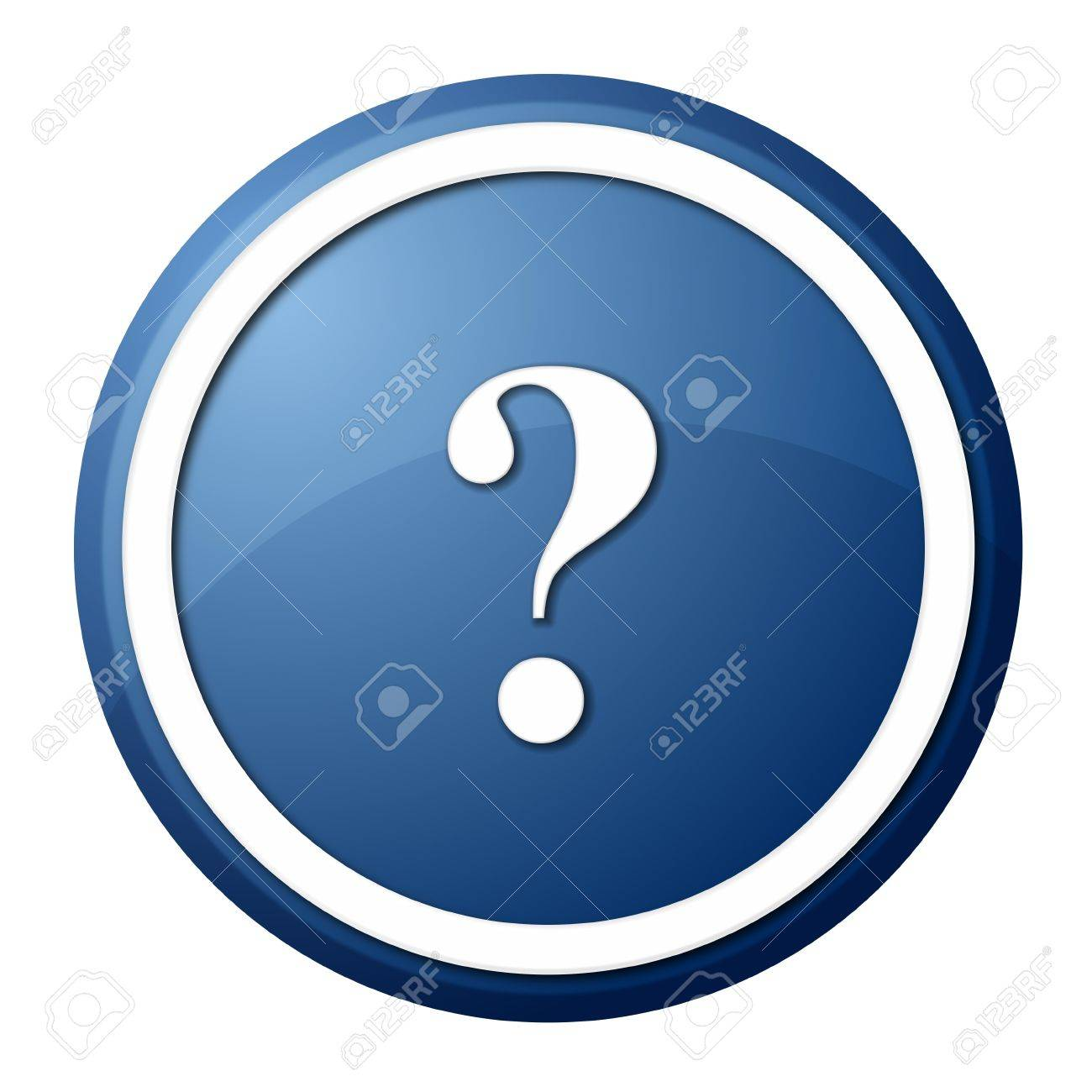 round question mark button with white ring for web design and presentation Stock Photo - 8257665