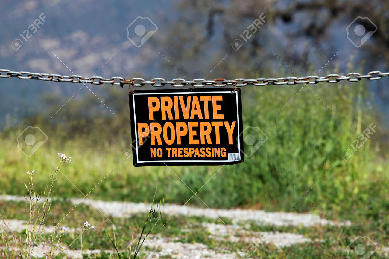 black orange white private property hanging sign Stock Photo - 9168751