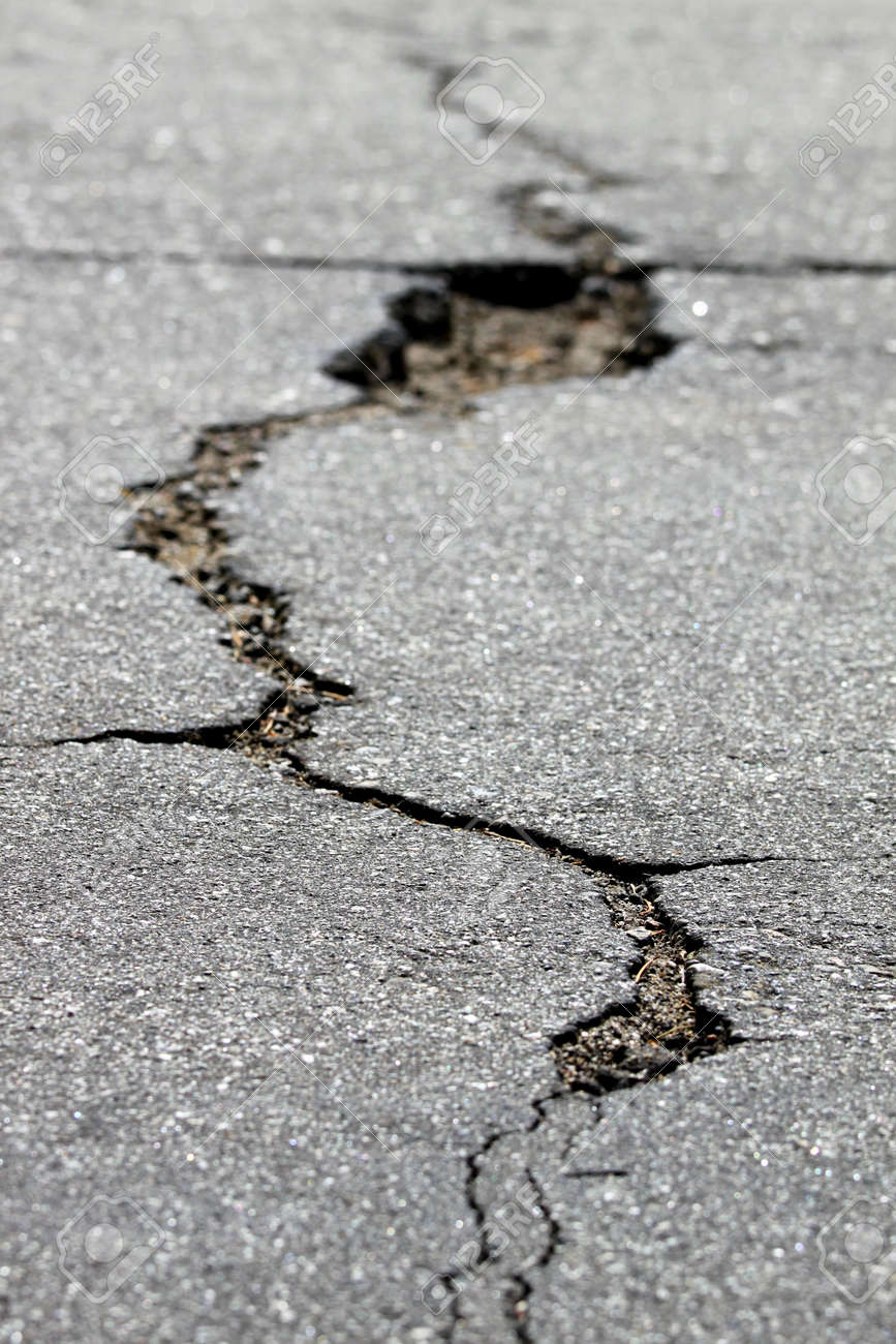 close up of a crack in the street Stock Photo - 12986573