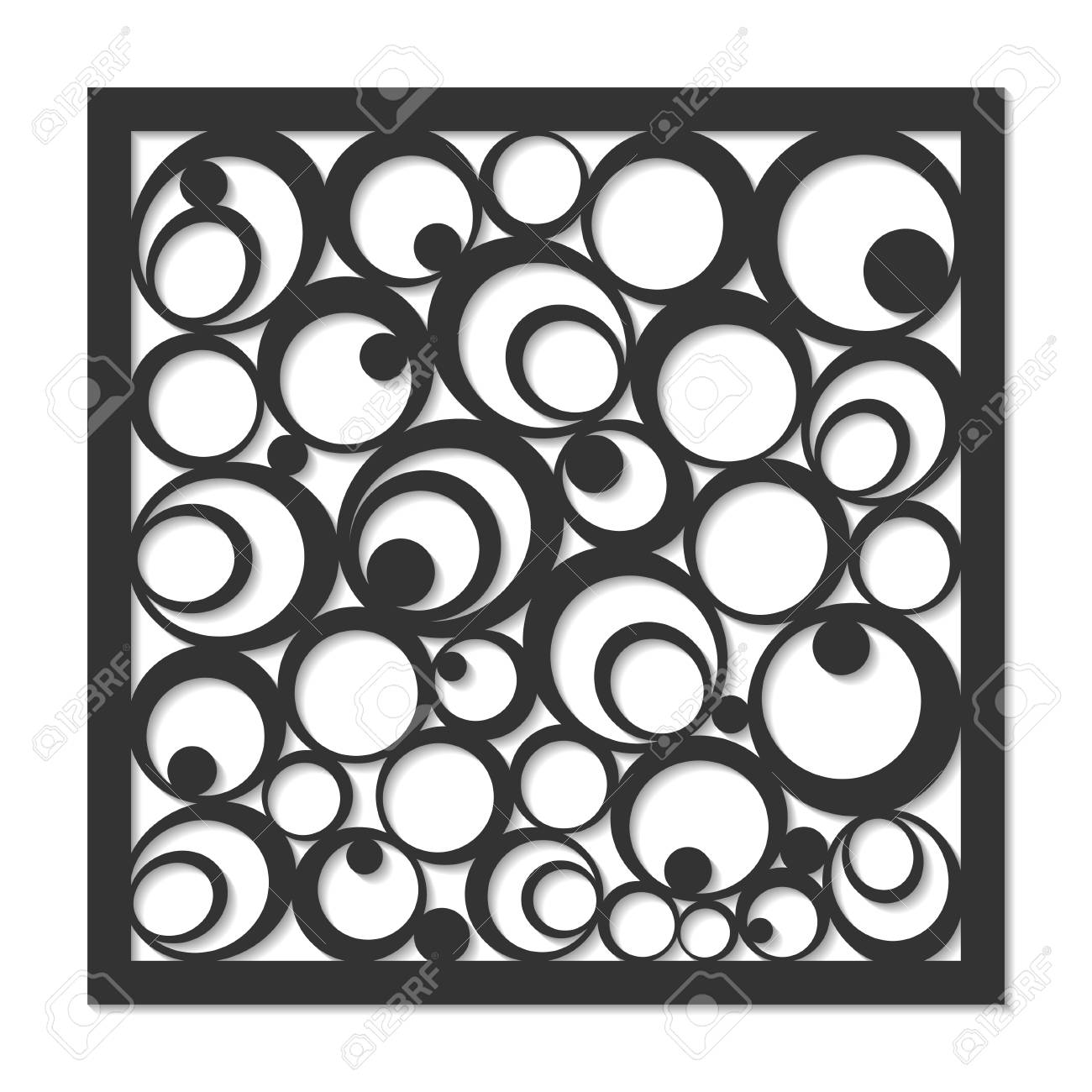 Geometric ornament template  card for laser cutting  decorative