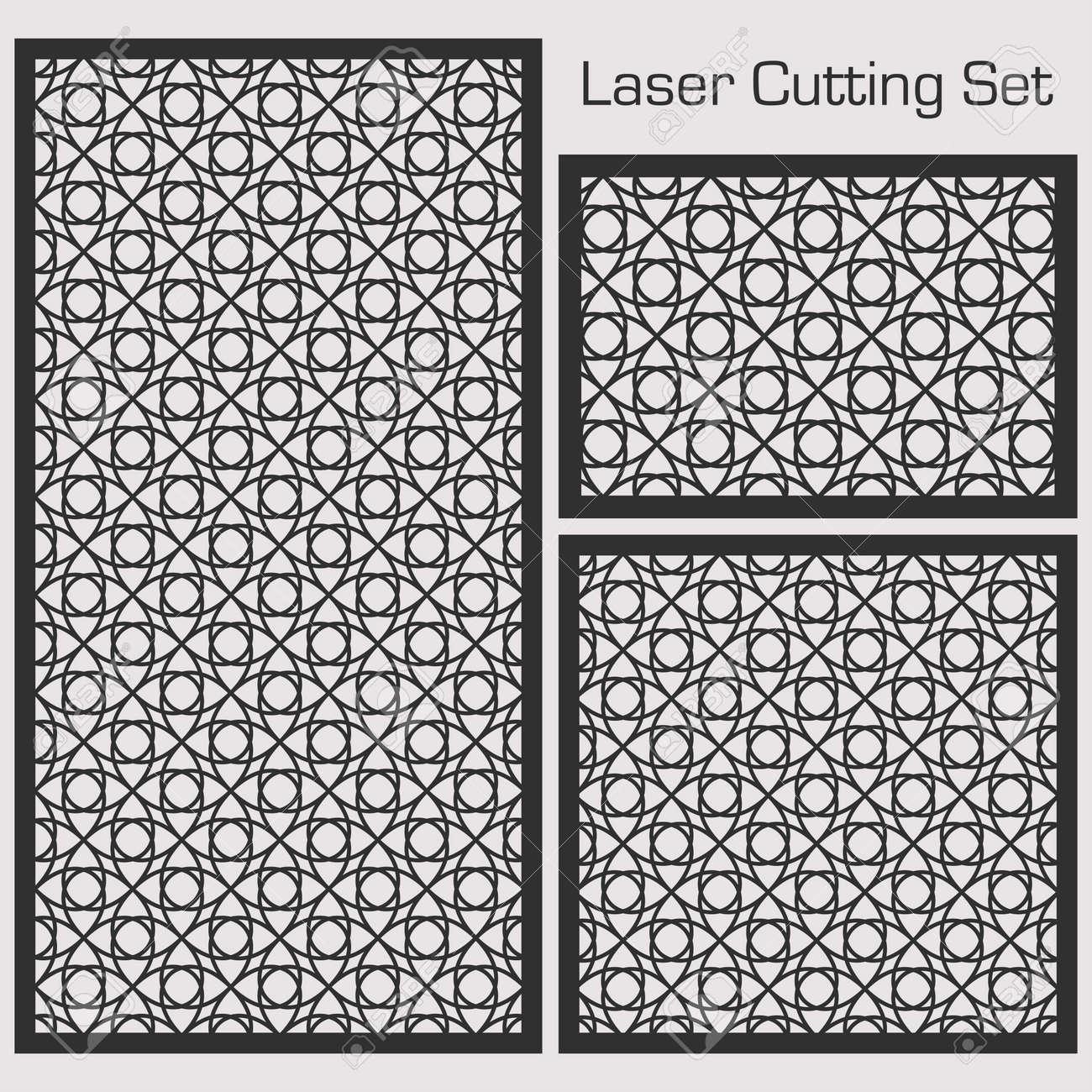 Ein Satz Dekorative Platten Fur Laserausschnitt Mit Einem Geometrischen Muster Fur Das Ausschneiden Des Papiers Des Holzes Des Metalls Lizenzfrei Nutzbare Vektorgrafiken Clip Arts Illustrationen Image 78780527