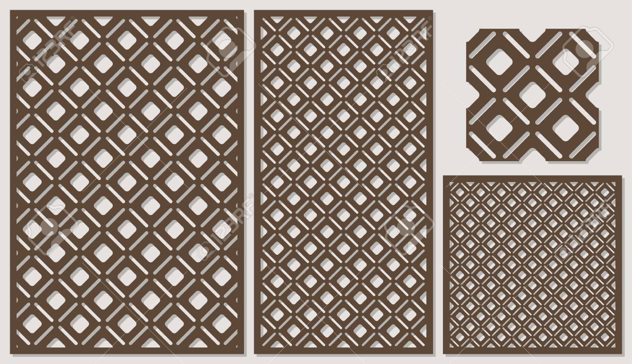Set Of Decorative Panels Laser Cutting A Wooden Panel Modern Royalty Free Cliparts Vectors And Stock Illustration Image 82650252