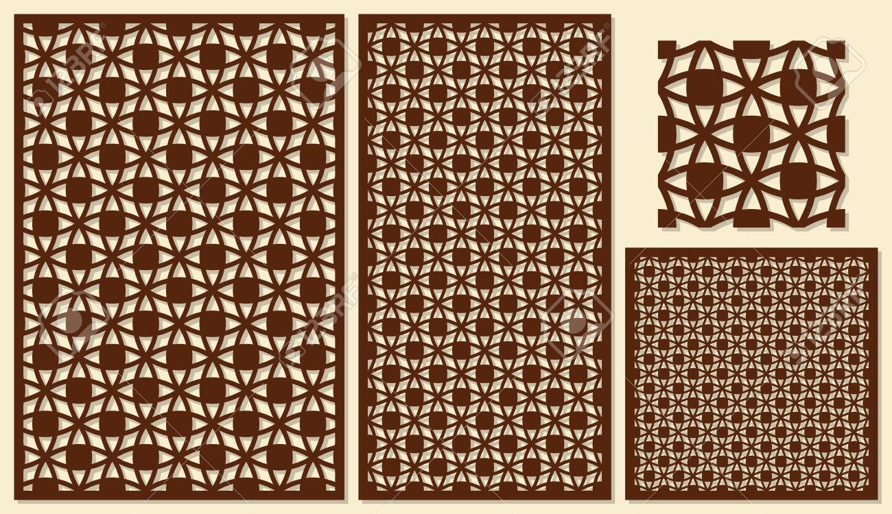 Set of decorative panels laser cutting  A universal square geometric