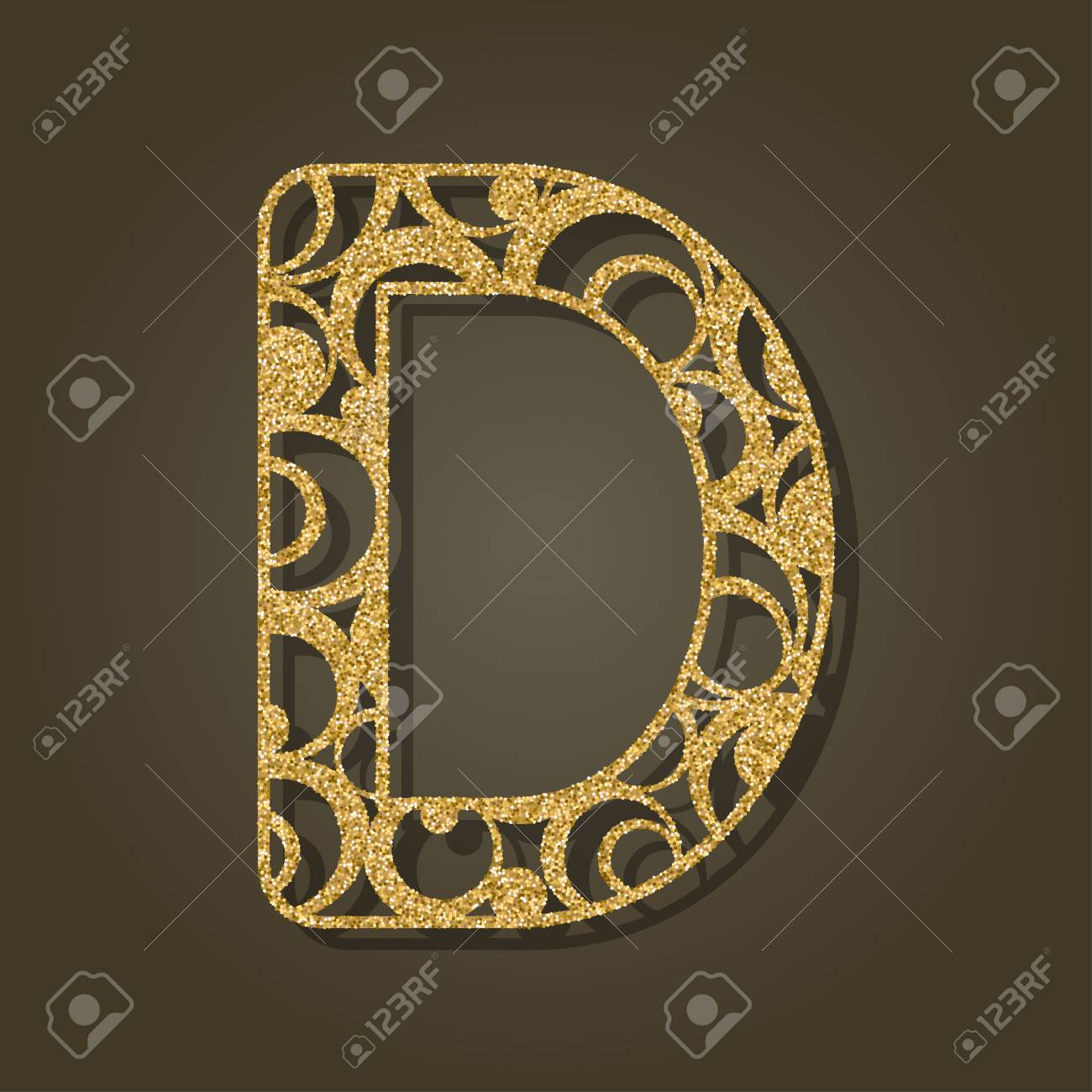 Gold Letter D For Laser Cutting English Alphabet Vector