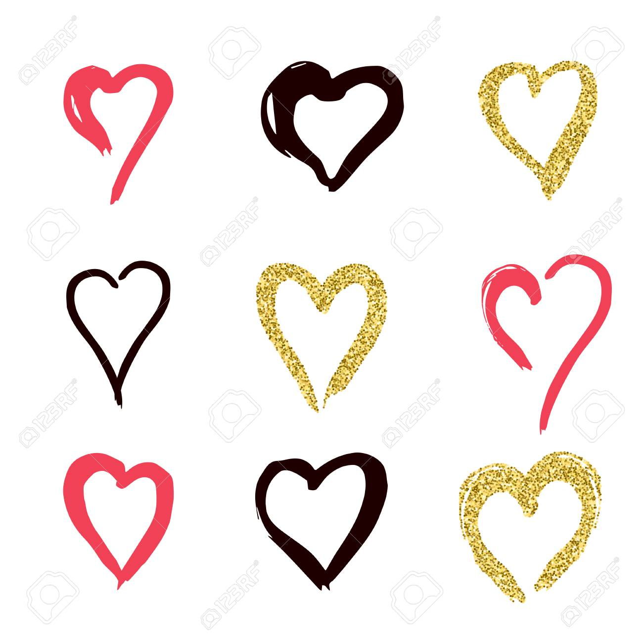Set Of Doodle Hearts In Style The Logo The Symbol Of Love