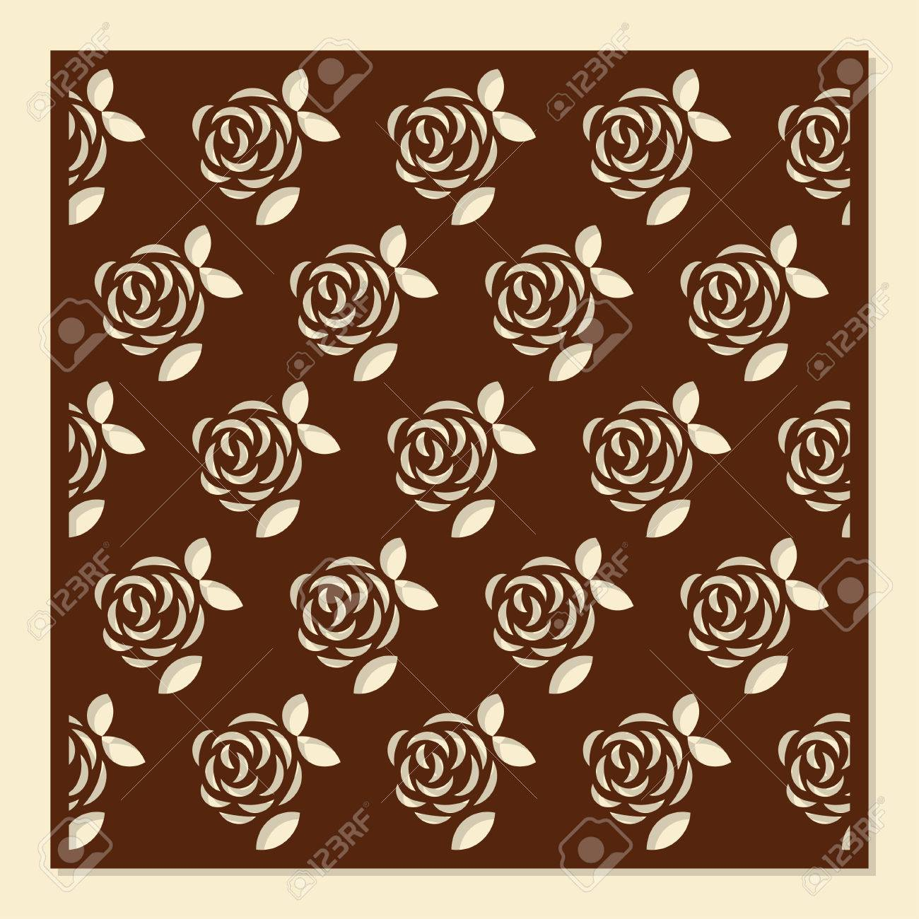 Rose Flower Decorative Pattern For Laser Cutting Vector