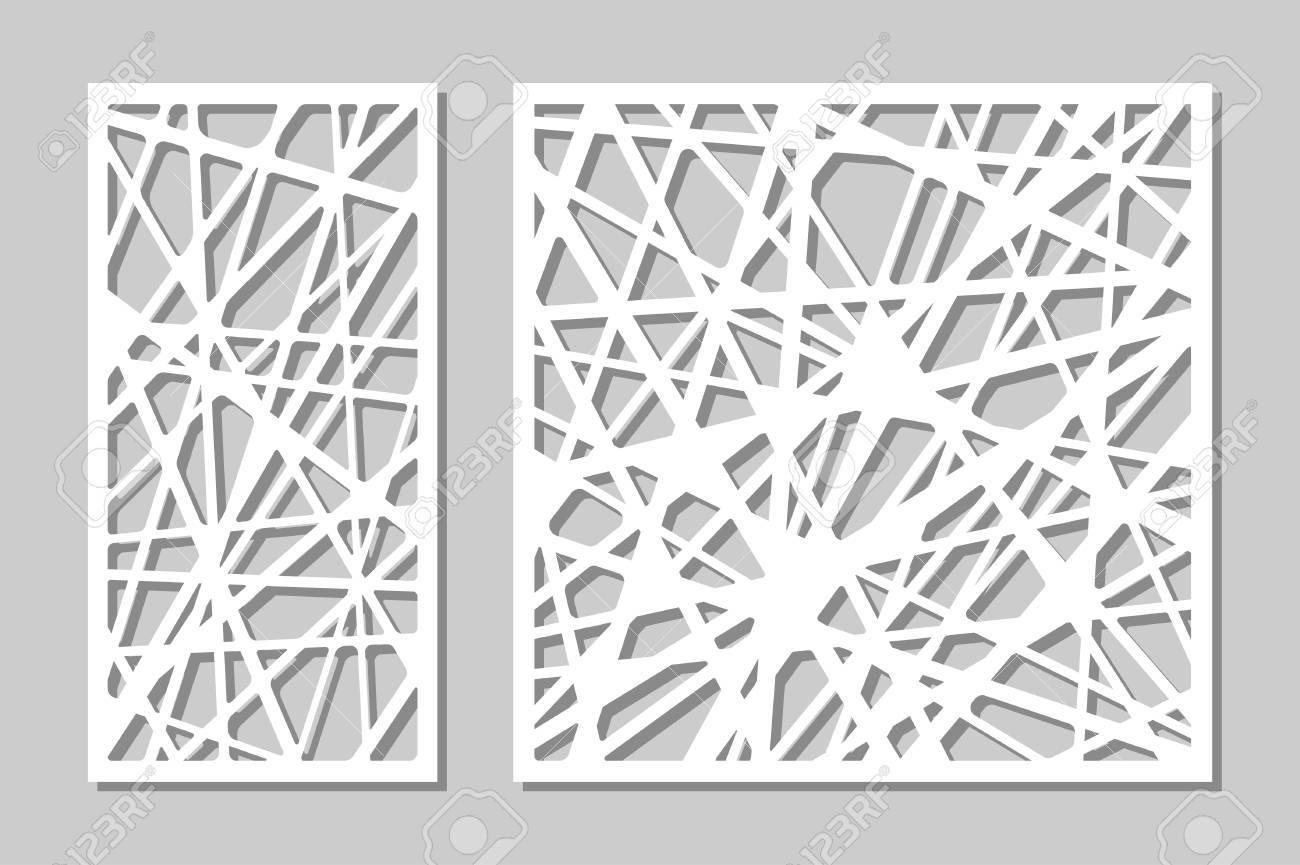 Set decorative panel laser cutting. wooden panel. Elegant modern geometric abstract pattern. Ratio 1:2, 1:1. Vector illustration. - 88028739