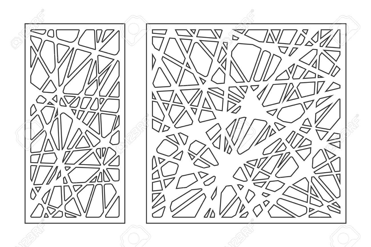Set pattern geometric ornament. Card for laser cutting. Element decorative design. Geometric pattern. Vector illustration. - 88772322
