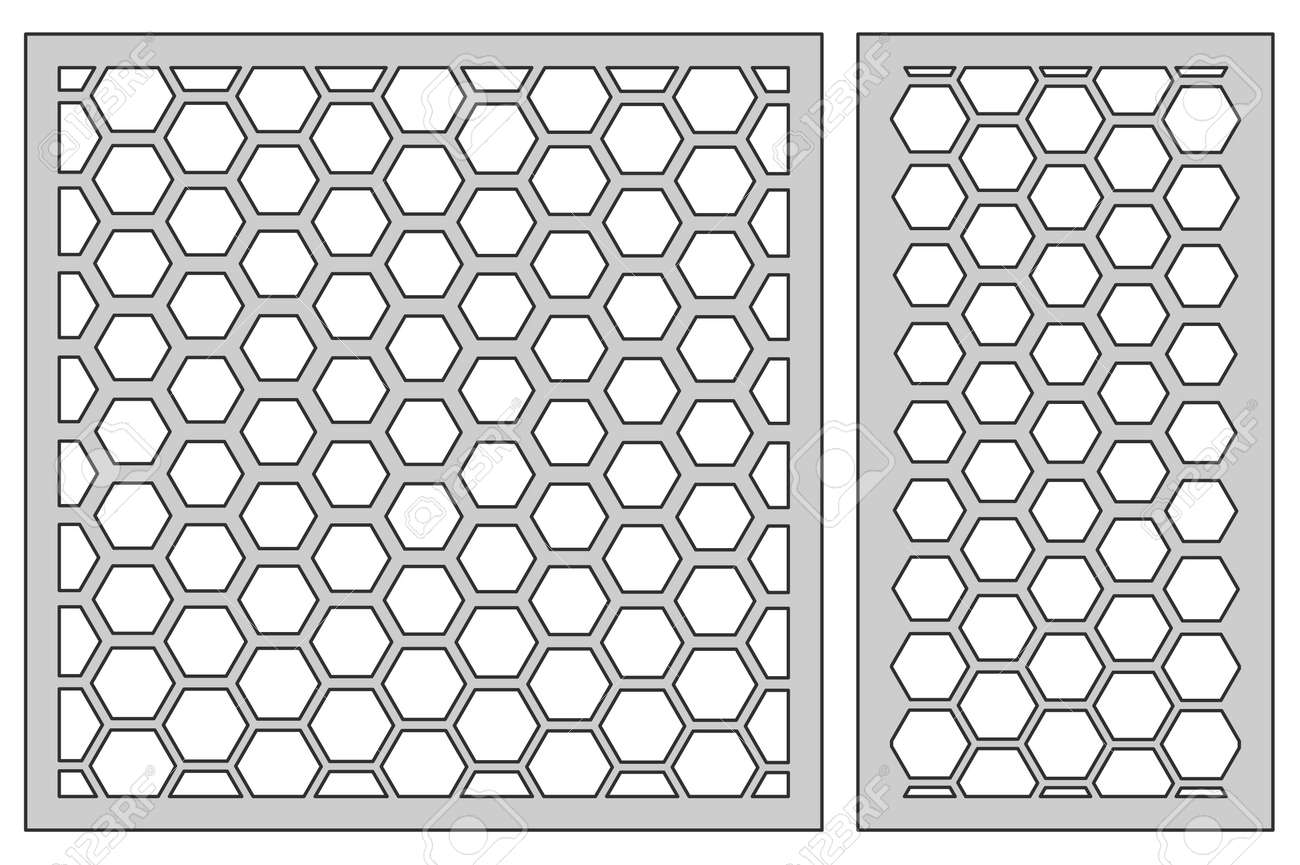 Set Template For Cutting. Pentagon Grid Pattern. Laser Cut. Ratio ...