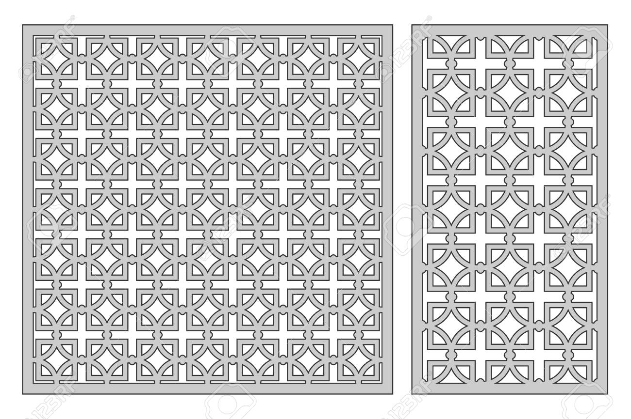 Set Template For Cutting. Square Repeat Pattern. Laser Cut. Royalty ...