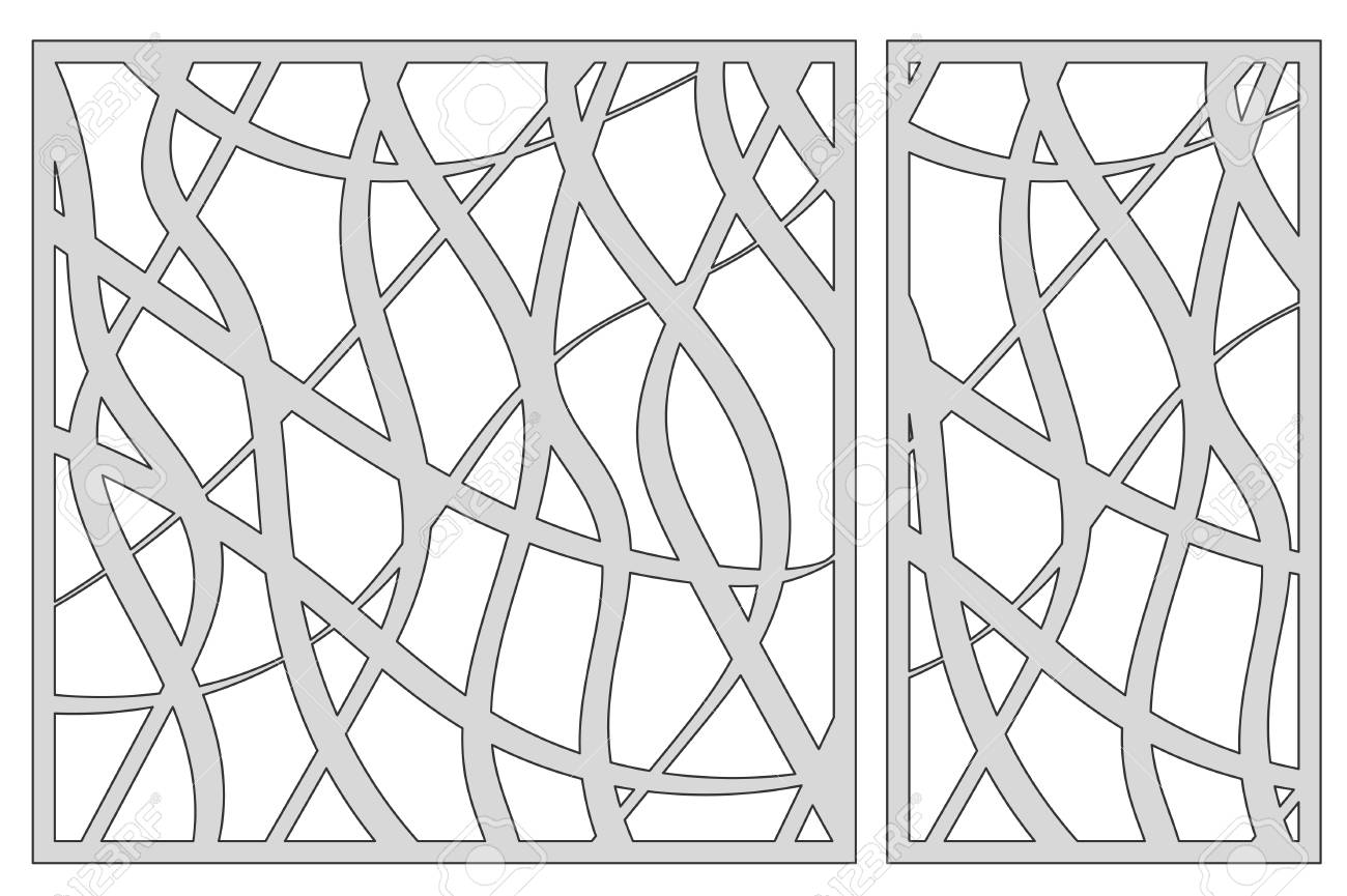 Template For Cutting. Abstract Line Pattern. Laser Cut. Vector ...