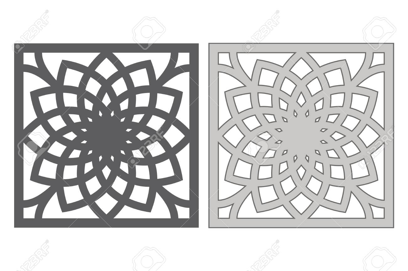 Template For Cutting. Geometric Flower Pattern. Laser Cut Vector ...
