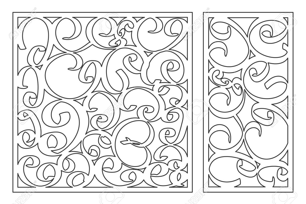 Template For Cutting. Abstract Line Pattern. Laser Cut. Set Ratio ...
