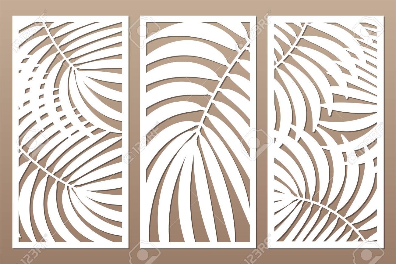 Set decorative card for cutting. Leaves foliage palms fern pattern. Laser cut. Ratio 1:2. Vector illustration. - 109813675