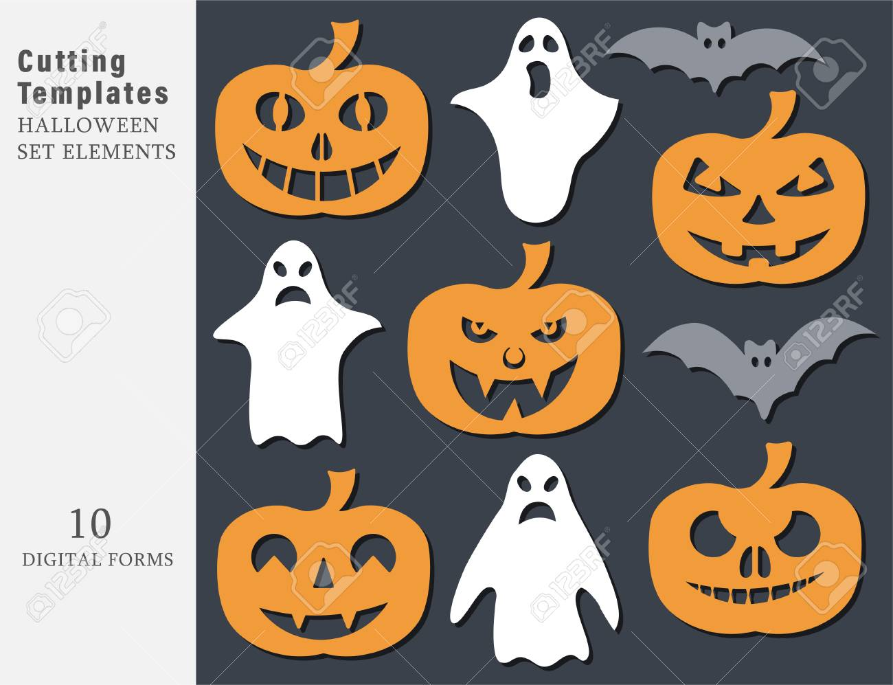 Garland Halloween. The laser cutting. Festive decoration for walls and Windows. Vector illustration. - 108678218