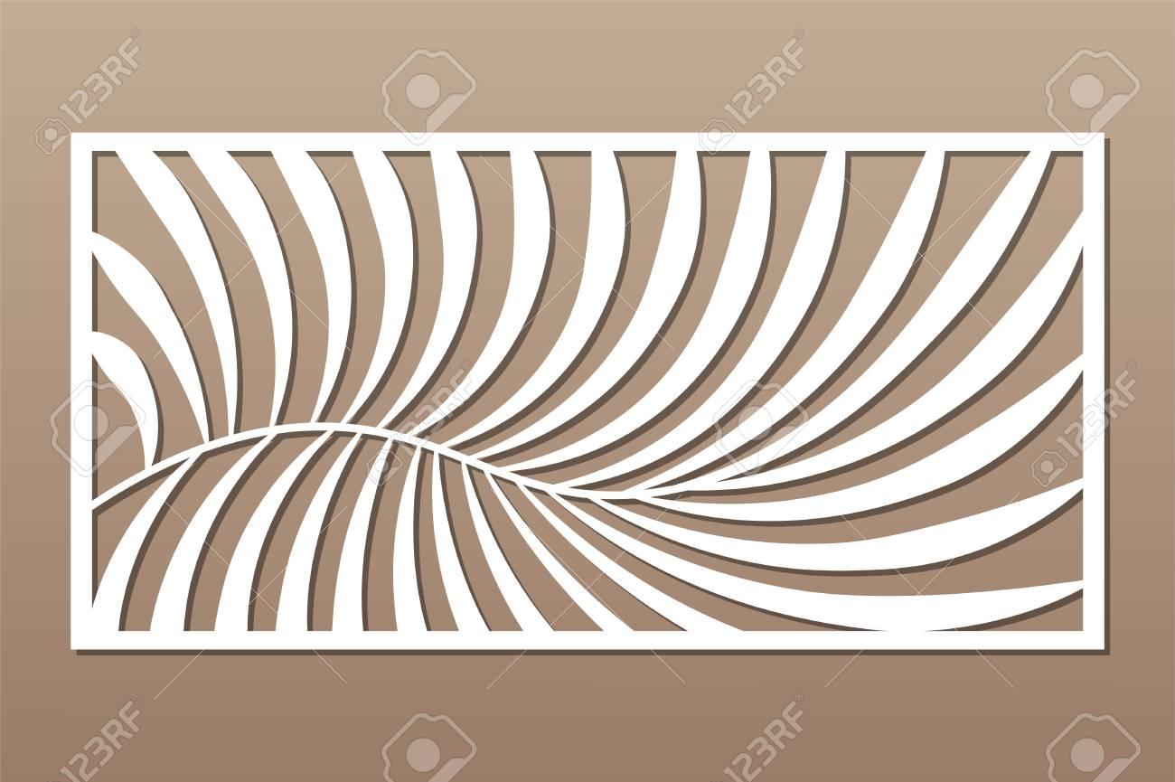 Decorative card for cutting. Fern palm pattern. Laser cut panel. Ratio 1:2. Vector illustration. - 131141004