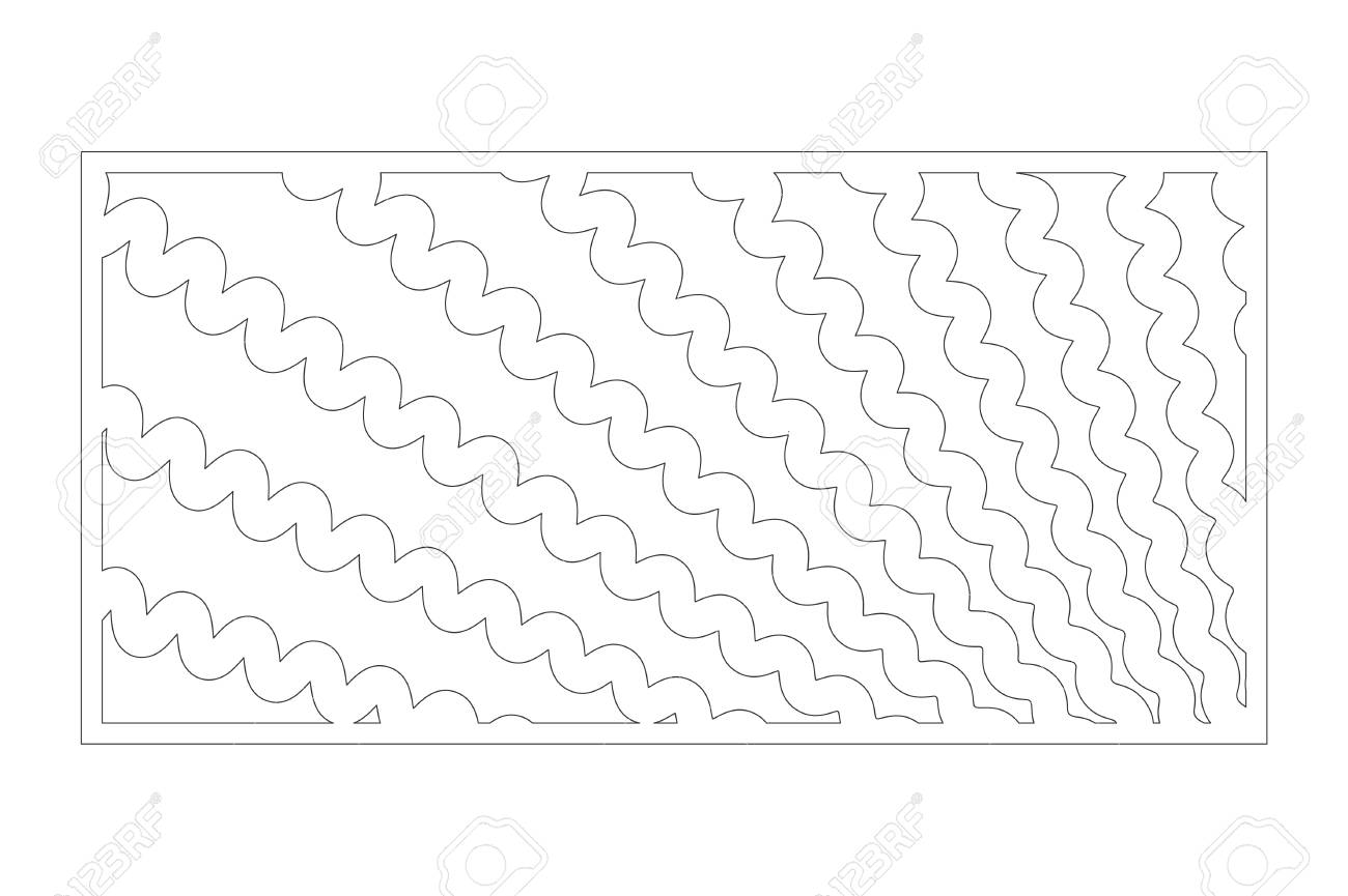 Decorative card for cutting. Wave line pattern. Laser cut panel. Ratio 1:2. Vector illustration. - 131141012