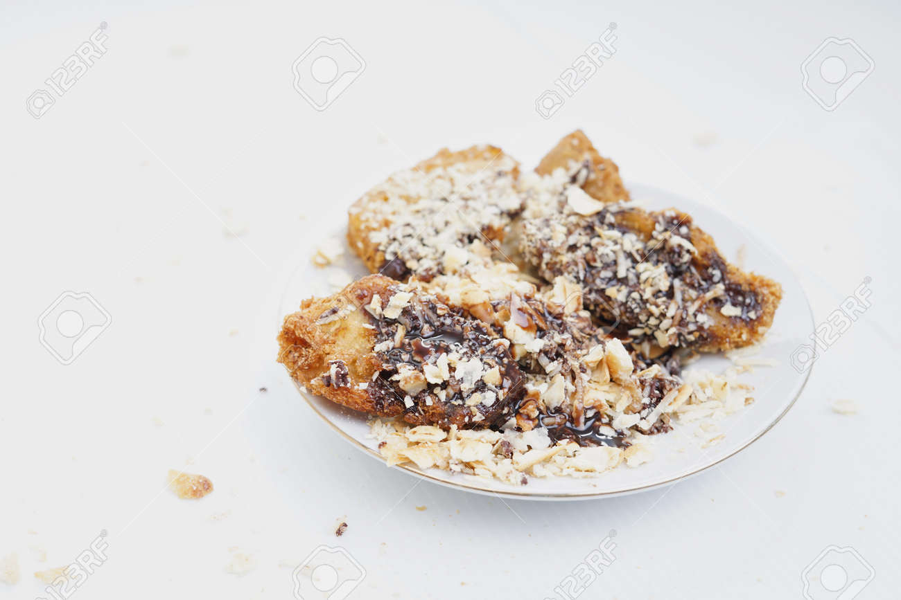 Deep Fried Banana Fritters With Chocolate And Cheese Stock Photo Picture And Royalty Free Image Image 120271181
