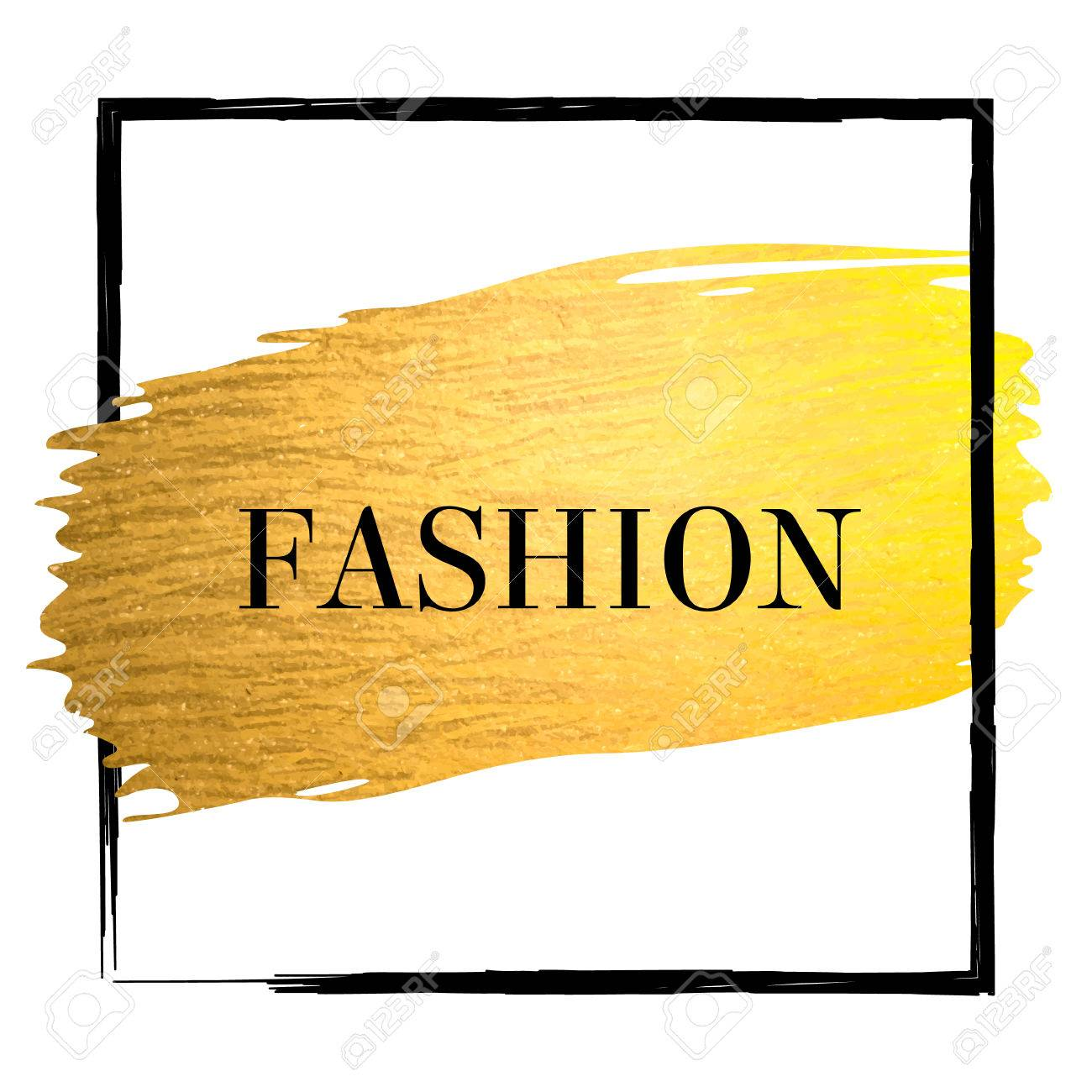 Golden Paint Stroke With Black Border Frame And Text Fashion
