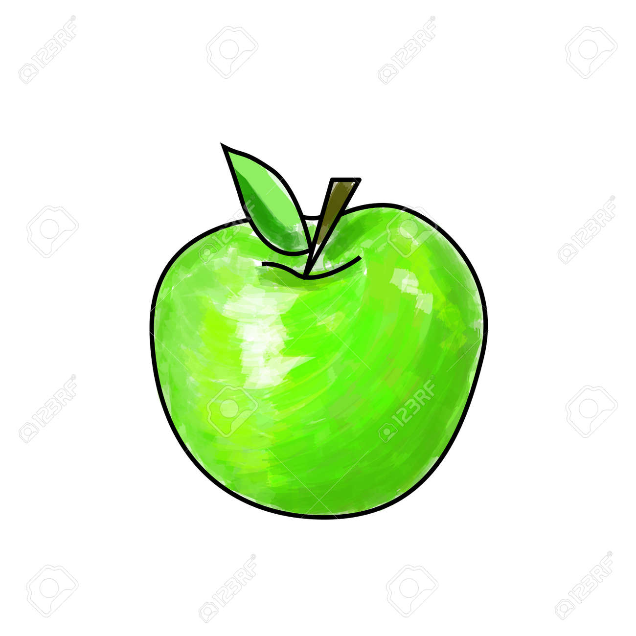 green apple fruit drawing. cartoon green apple made with drawing brush. stock vector - 67676841 fruit