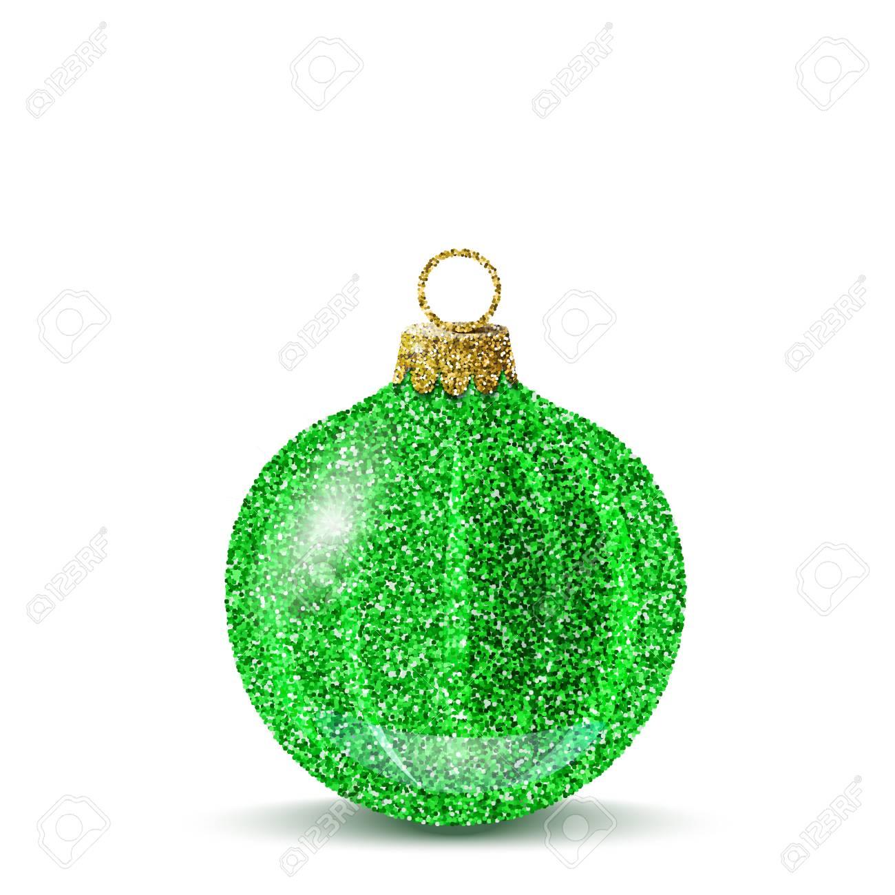 088c80ca8ca26 Bola de Navidad verde aislado. Brillante brillo lentejuelas textura.  Decoración realista para el árbol