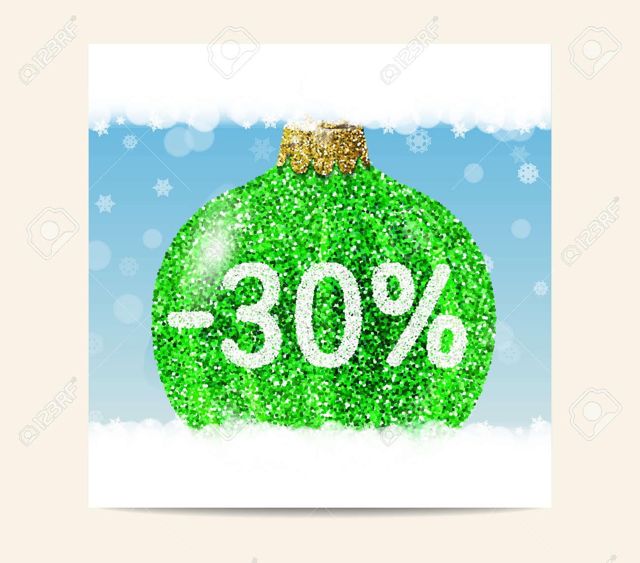 green christmas ball on background with snowflakes christmas and new year sale 30