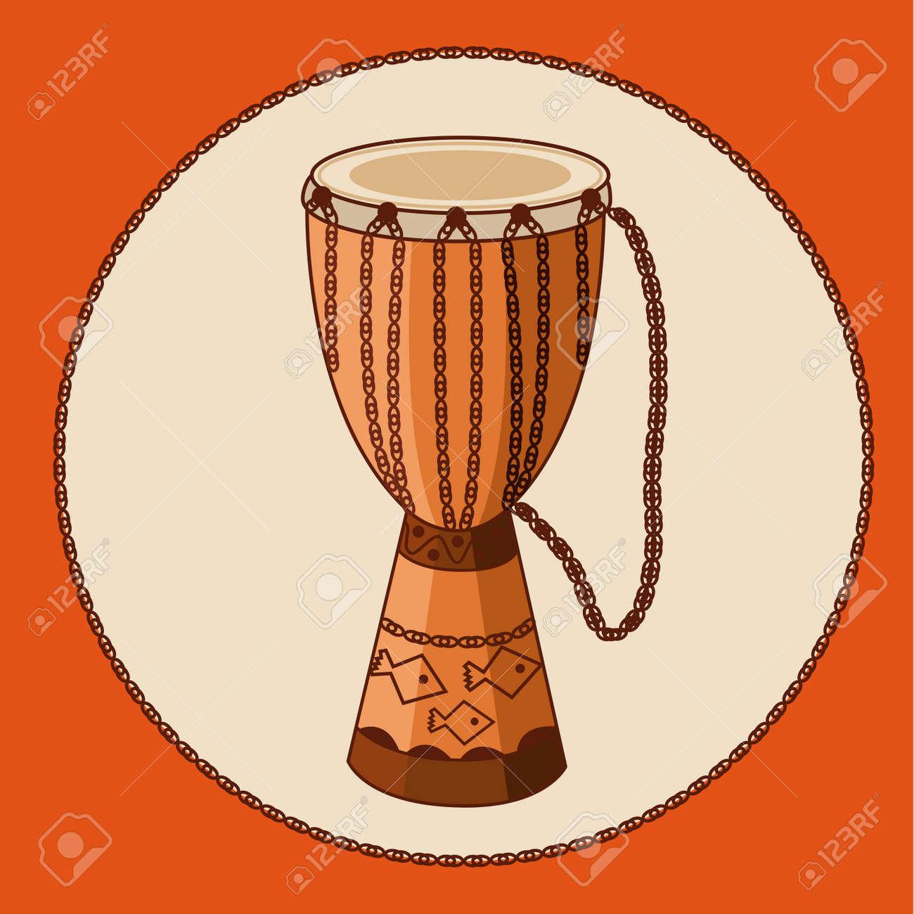 Djembe Tambor Africano Con El Ornamento Y Cuerdas Earthtone Colores