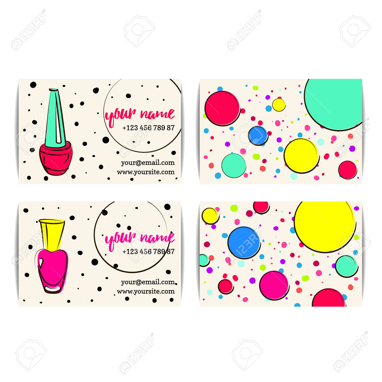 Nail Polish Business Card. Vector Set Of Manicure Visit Cards ...