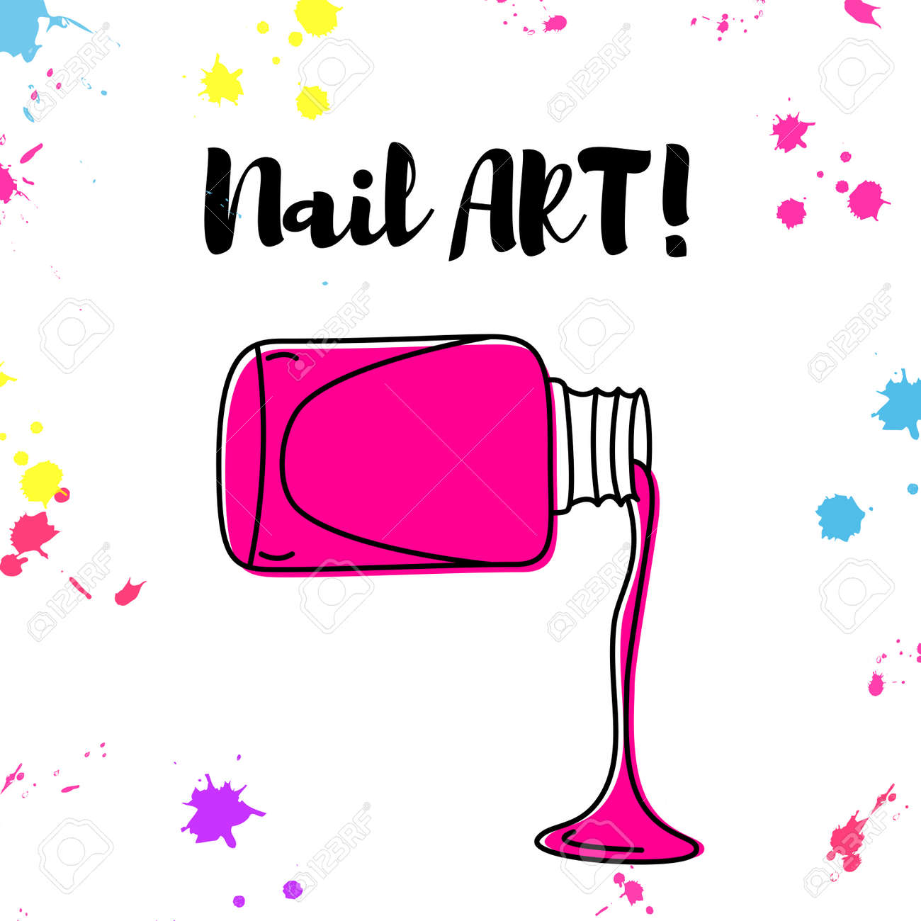 Nail Polish Spill Poster With Colorful Splashes And Text \