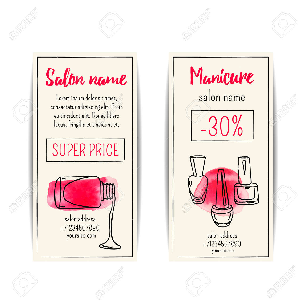 Watercolor nail polish flyer vector set of manicure voucher watercolor nail polish flyer vector set of manicure voucher or coupons stock vector pooptronica Gallery