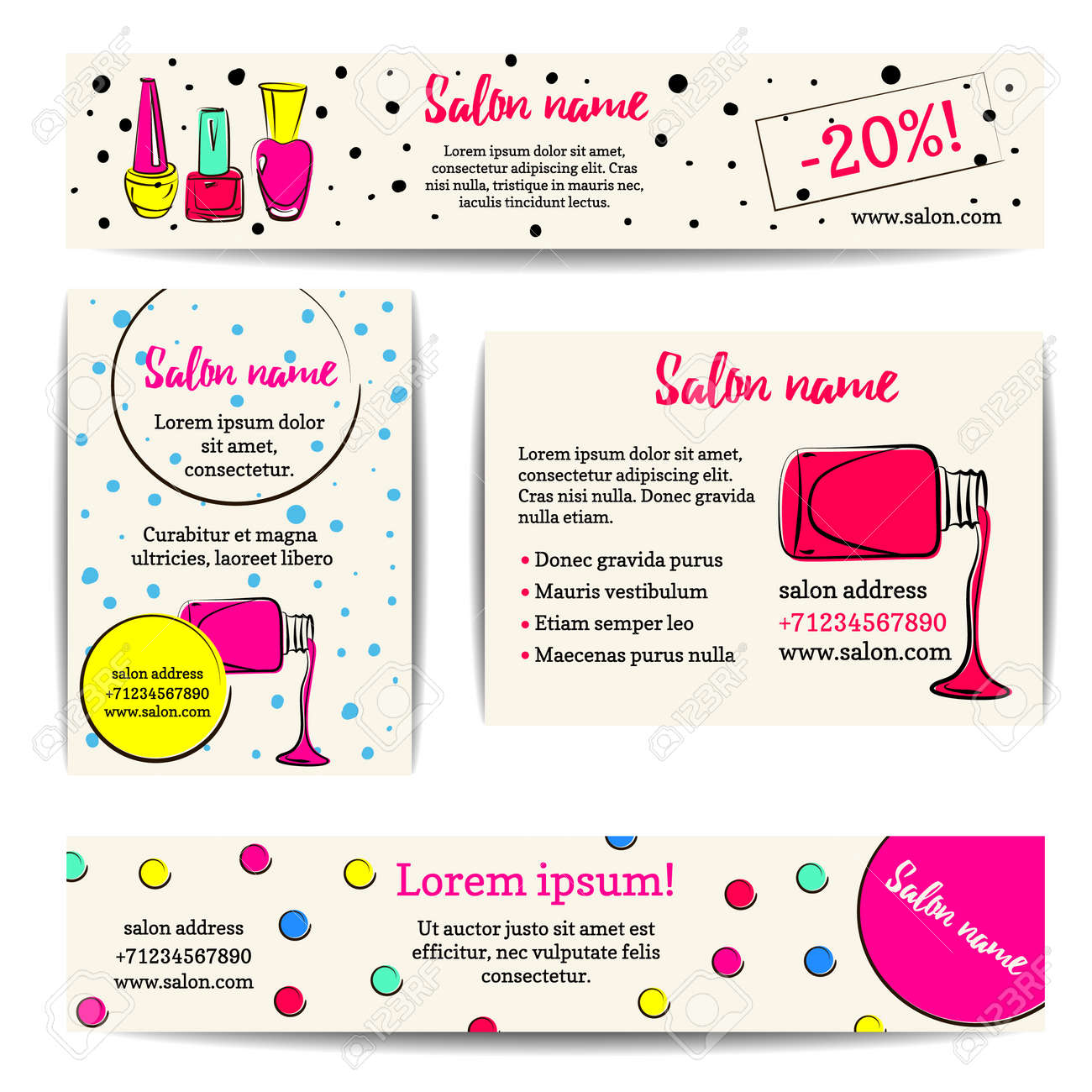 Nail Polish Banner. Vector Set Of Manicure Flyers And Coupons ...