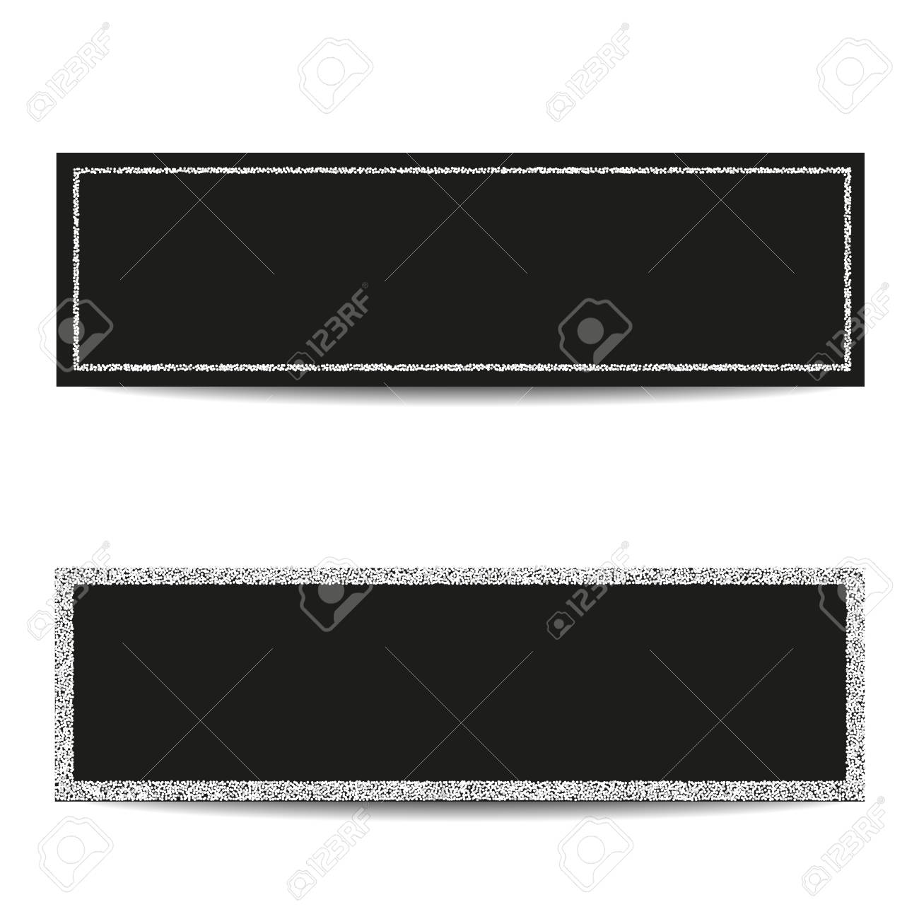 Set Of Horizontal Banner Templates. Empty Silver Frames. Black ...