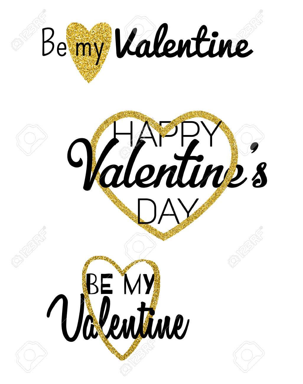 Set Of Typographic Valentines Cards With Love Symbols Be My